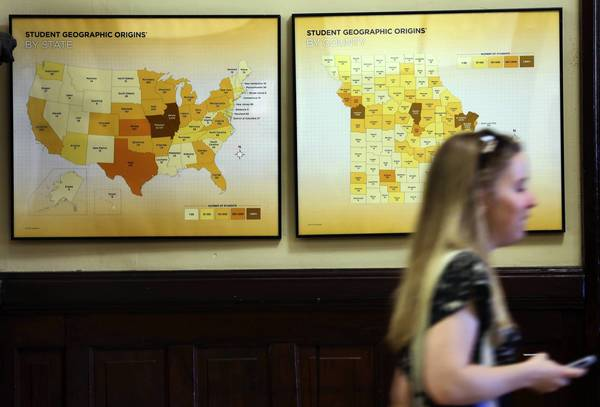 Student geographic origins by state and county, show the large number of students coming from Illinois on a display at the University of Missouri in Columbia. There has been a huge increase in the number of Illinois students attending the University of Missouri.