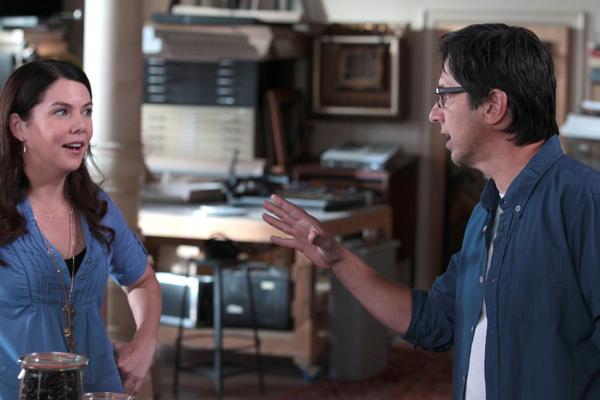 "Lauren Graham as Sarah Braverman, Ray Romano as Hank in a scene from ""Parenthood."""