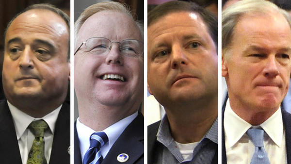 Possible republican candidates for governor include, from left, House Republican leader Larry Cafero, Danbury Mayor Mark Boughton, Senate Republican leader John McKinney and Tom Foley, who lost to Dannel P. Malloy in the last election.