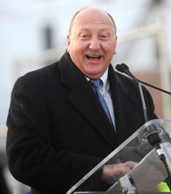 Allentown Mayor, Ed Pawlowski, speaks at a ground-breaking ceremony for the Allentown hockey arena which will host the Lehigh Valley Phantoms, a Flyers farm team.