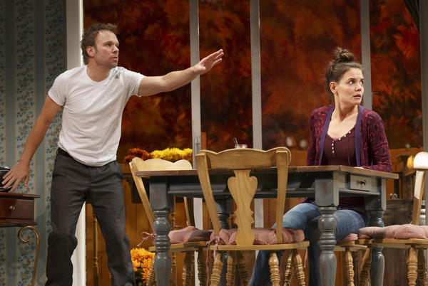 "Norbert Leo Butz as Jack and Katie Holmes as Lorna in the Music Box Theatre's ""Dead Accounts."""