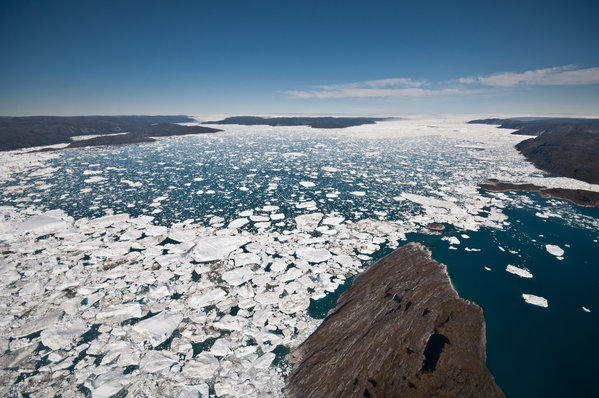 Melting ice from Greenland's Ilulissat icefjord contributes to the rise in sea level.