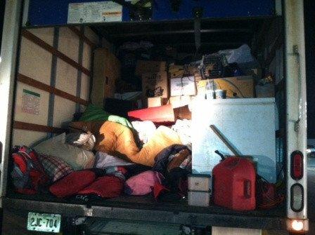 An Indiana couple moving to California kept five children and 18 cats in the back of this truck for the cross-country drive.