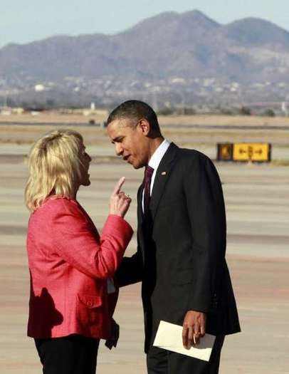 Arizona Gov. Jan Brewer and President Obama.