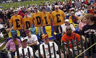 Eddie Murray fans were easily found in the crowd during the 2003 Hall of Fame induction ceremonies in Cooperstown, N.Y.