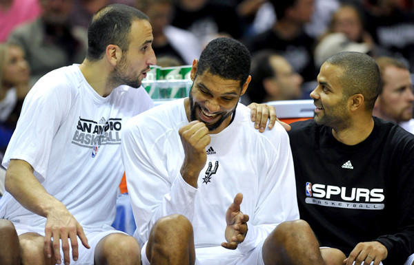Did the Spurs' Big 3 -- from left, Manu Ginobili, Tim Duncan and Tony Parker -- just learn they get a night off from playing the Heat? No, they're yucking it up during an exhibition game in October.
