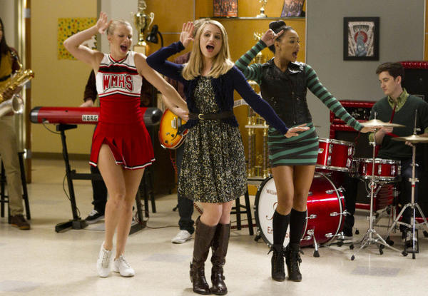 The Holy Trinity, aka Quinn, Santana and Brittany, reunites for an old school number.