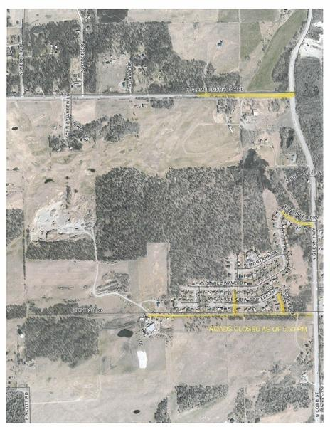 The Mat-Su Borough provided this map of roads closed due to fires in the Cedar Hills subdivision as of 5:30 p.m. Thursday. (Courtesy Mat-Su Borough)