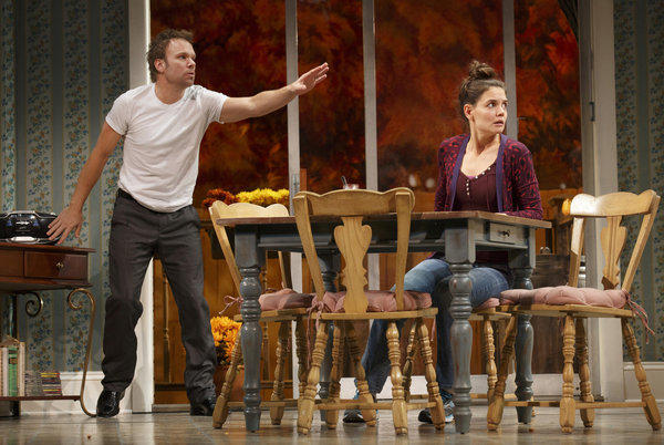"Norbert Leo Butz and Katie Holmes in a scene from Theresa Rebeck's Broadway comedy ""Dead Accounts."""