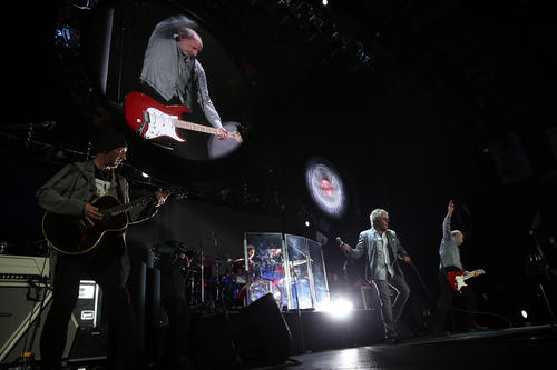 The Who's Pete Townsend sings alongside Roger Daltrey during the band's show at the Allstate Arena in Rosemont on Thursday, November 29, 2012.