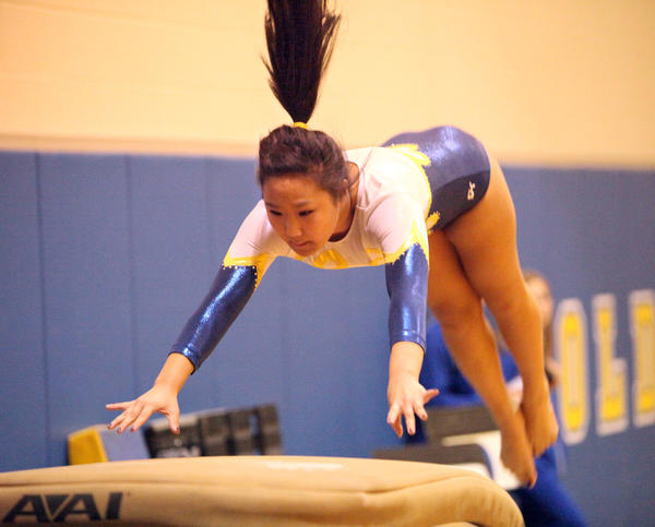 Aberdeen Central's Hannah Langbehn leaps for the vault as she attempts a full handspring during Thursday's dual with Jamestown in the Central High School auxiliary gym.