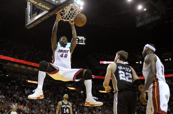 Miami Heat forward Udonis Haslem dunks the ball during the fourth quarter against the San Antonio Spurs.