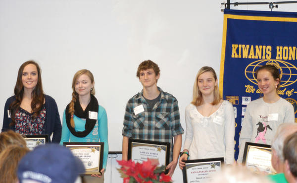 The Kiwanis Club of Boyne City gave away $800 to local charities during its annual Eddie Essay Contest. From 115 essays that were entered, five 10th grade students were selected as winners to present a check to the charitable organization of their choice. Pictured are (left to right) Hailey Matelski, Sarah Grose, Nathan Priest, Kayla Fuller-Lewis and Katelyn Skornia.
