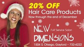 New Dimensions - 20% off Hair Care Products