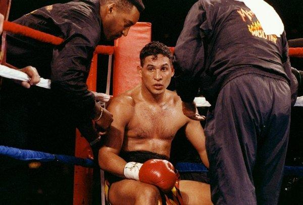 Boxer Hector Camacho sits in his corner between rounds of his fight against Eddie Van Kirk in 1992.