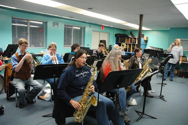 The Pine River Jazz Band rehearses on Tuesday at Northwest Academy in Charlevoix, in advance of its hurricane relief concert on Saturday.