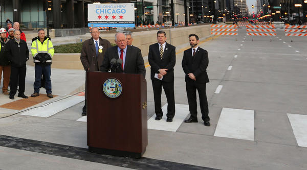 Gov. Pat Quinn holds a press conference to announce the opening of upper Wacker Drive in Chicago. Lower Wacker Drive will open this afternoon.