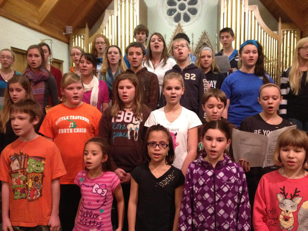 Members of the combined Little Traverse Youth Choirs rehearse Thursday for their winter concert on Sunday, Dec. 2, in Petoskey.