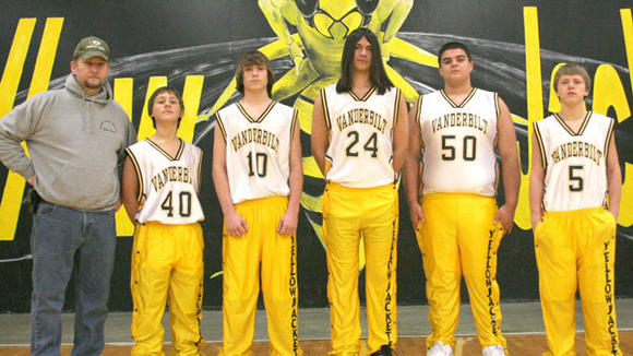 The 2012-13 Vanderbilt boys' basketball team (l-r): Coach Tim McMillion, Kenneth Ohmann, Damien Dempsy, Joaquim Guadarrama, JJ Straub, Alex Morris. Not pictured: Trent Teeling, Trace Teeling.