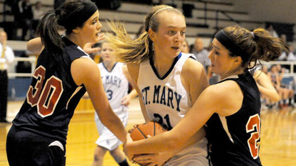 St. Mary freshman Bekah Myler more than held her own in her first varsity game, hitting double digits with 13 points while battling hard in the post.
