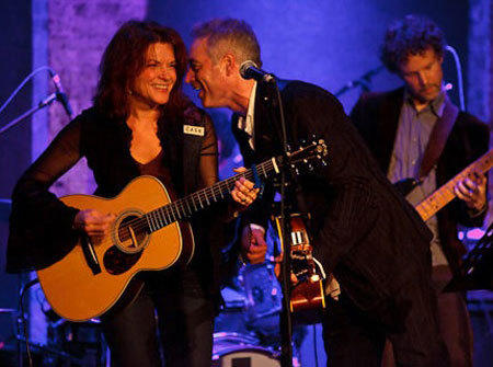 Rosanne Cash on stage with John Wesley Harding at City Winery in New York last year.