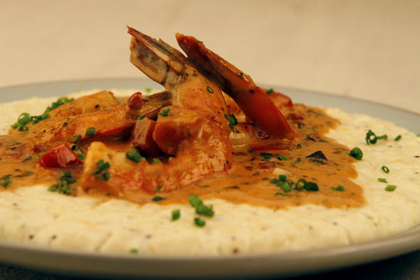 "Shrimp and grits from Bar/Kitchen at downtown's O Hotel. <a href=""http://www.latimes.com/features/food/la-fo-sos-shrimp-and-grits-20121201,0,2903191.story"">Recipe</a>"
