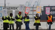 Skeletal picket teams of just one or two union members per cargo terminal are maintaining a strike vigil amid sporadic rain showers at the ports of Los Angeles and Long Beach on Friday morning.