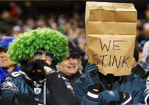 Philadelphia Eagles fans sum up the team's 2012 season while watching yet another loss, this time to the Carolina Panthers.