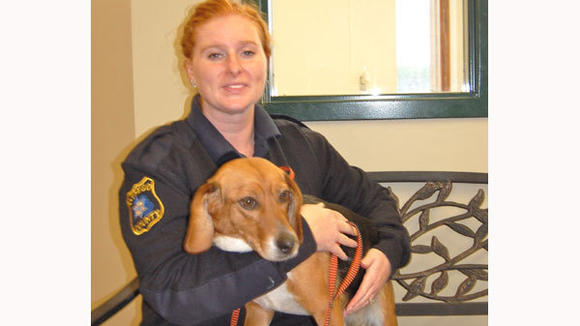 Christi Pratt, newest staff member of Otsego County Animal Control, is shown with Brandy, a beagle up for adoption. Animal Control staff warn that owners need to keep an eye on the winter weather and provide extra protection for pets.