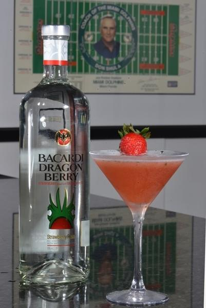 "<b><a href=""http://findlocal.orlandosentinel.com/listings/shulas-347-grill-lake-mary"">Shula's 347 Grill</a></b> <br><br>  2 oz. Dragon Berry Bacardi<br><br>  1/2 oz. freshly squeezed lime juice<br><br>  5 mint sprigs<br><br>  2 Strawberries<br><br>  Splash of simple syrup<br><br>  Splash of Club Soda<br><br>   In a mixing glass muddle lime juice, strawberries and mint<br><br>  Add Dragon Berry Bacardi and ice<br><br>  Shake vigorously and add splash of soda and strain into chilled Martini glass<br><br>  Garnish with Strawberry"