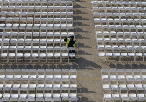 Chairs line the pier at Naval Station Norfolk ahead of Saturday's Inactivation Ceremony for the USS Enterprise.