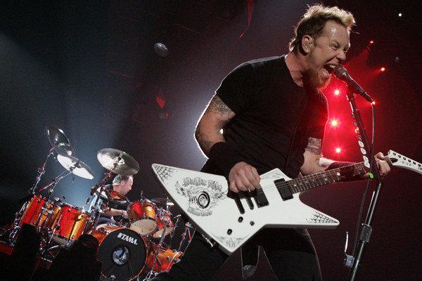 Guitarist James Hetfield and drummer Lars Ulrich of Metallica.