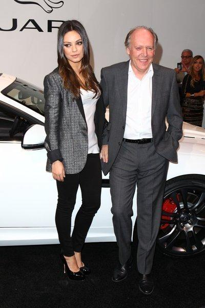 Actress Mila Kunis with Jaguar design director Ian Callum