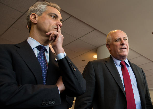 Mayor Rahm Emanuel and Gov. Pat Quinn meet during an announcement in Chicago about a contract with Argonne National Laboratory for battery development and creation of a Joint Center for Energy Storage Research on Friday.