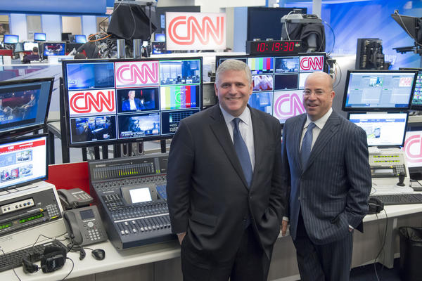 Phil Kent (L) Chairman and CEO of CNNs parent company Turner Broadcasting and Jeff Zucker, the new president of CNN Worldwide.