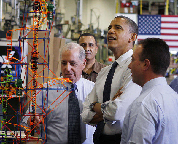 President Obama checks out the toys at a factory in Hatfield, Pa., on Friday.
