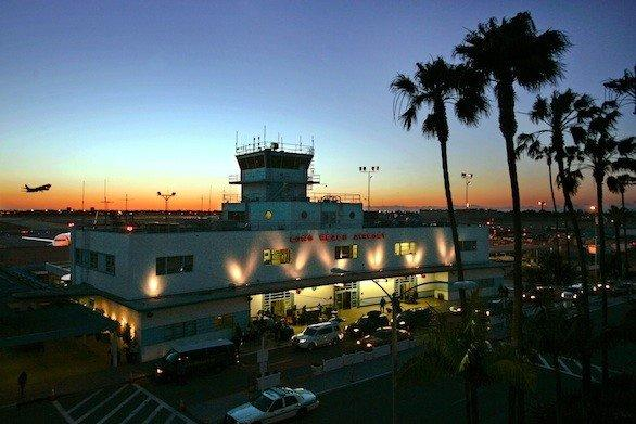 The original Long Beach Airport building was completed in 1941. A new passenger concourse will open Wednesday.