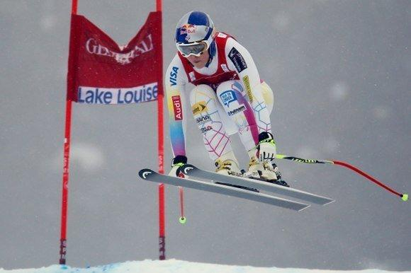 Lindsey Vonn soars above the competition in Frirday's World Cup downhill at Lake Louise, Canada. (Mike Blake / Reuters)