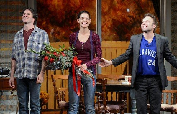 "Josh Hamilton, left, Katie Holmes and Norbert Leo Butz take their curtain call during the ""Dead Accounts"" Broadway opening night at the Music Box Theatre."