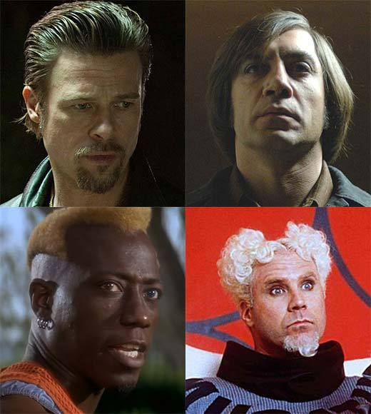 The (Bad) Hair Club for (Bad) Men: Javier Bardem, Brad Pitt, Will Ferrell and more members: You used to be able to tell the good guys from the bad guys by their hats. White hat? Hero. Black hat? Black-hearted no-good villain.   Now, weve dispensed with hats and gone straight for the hair follicles themselves. Movie bad guys have sported some of the most god-awful hairstyles ever to blight the heads of otherwise handsome men. Check out the movie stars who have fallen prey to tonsorial torture, all in the name of bad-character development.