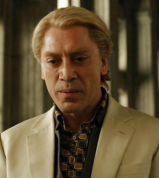 The (Bad) Hair Club for (Bad) Men: Javier Bardem, Brad Pitt, Will Ferrell and more members: Silva teases, he tortures, he causes pain and suffering ... and thats just what he does to his hair. That platinum dye job signifies evil long before his first encounter with James Bond.
