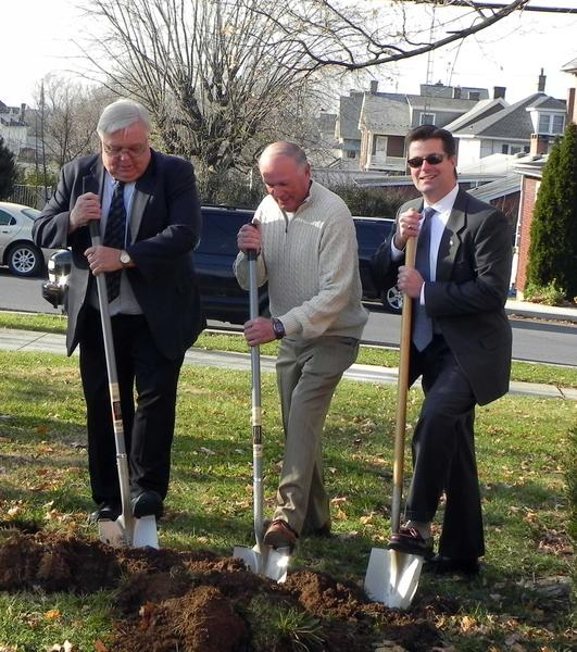 Greencastle (Pa.) Mayor Robert E. Eberly, Greencastle Borough Council President Charles Eckstine and Antrim Township Chairman Fred Young III helped break ground at Friday's groundbreaking ceremony for phase one of the Besore Library in Greencastle.
