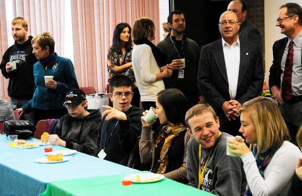 """Parkland and Lehigh Carbon Community College (LCCC) students and staff interact during a special """"tea"""" held on Friday at LCCC in Schnecksville in honor of the establishment of a new and unique program designed to aid students with disabilities to transition to adult life."""