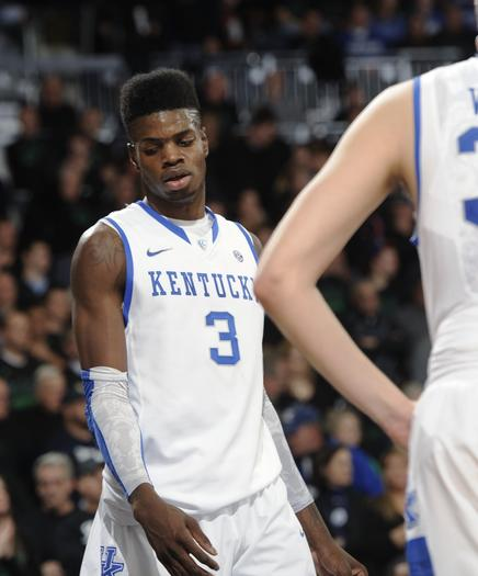 Kentucky¿s Nerlens Noel reacts following the Wildcats¿ 64-50 loss to Notre Dame Thursday in South Bend. The Wildcats will take on Baylor in a 12:30 contest Saturday at Rupp¿Arena.