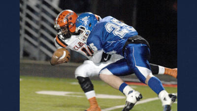 Berlins Drew Glotfelty sacks Clairton quarterback Armani Ford in the first quarter of Friday nights PIAA Class A quarterfinal playoff game at Somerset.