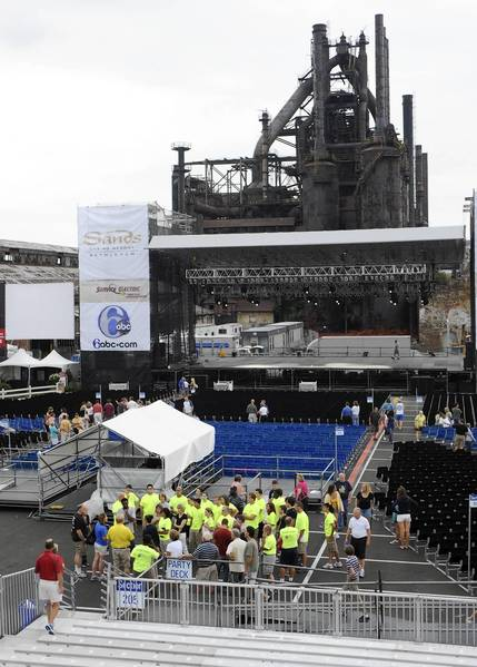 Musikfest attendees check out the new Steel Stage in south side Bethlehem on the preview night of Musikfest on Thursday August 4, 2011.