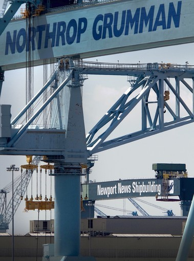 Newport News Shipbuilding has its new name painted onto the 50th Street crane. The north yard's crane name has not changed yet to Newport News Shipbuilding.