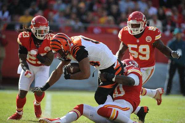 Jovan Belcher in action against Jermaine Gresham at Arrowhead Stadium.