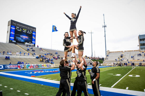 UCF cheerleader perform before the start of of the 2012 C-USA title game against the University of Tulsa at the H.A. Chapman Stadium on Saturday, December 01, 2012 in Tulsa, OK.