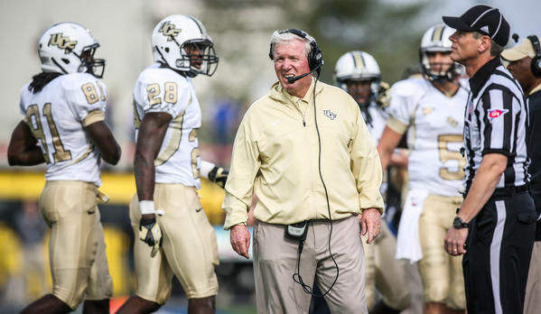 UCF coach George O'Leary reacts during first quarter action of the 2012 C-USA title game against the University of Tulsa at the H.A. Chapman Stadium on Saturday, December 01, 2012 in Tulsa, OK.